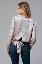 Women Surplice Long Sleeve Tie Back Blouse Top - 2