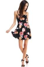 Floral Tie Back A-line Dress - 7
