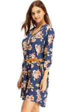 Floral Belted Long Sleeve Shirt Dress - 4