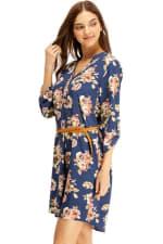 Floral Belted Long Sleeve Shirt Dress - 5