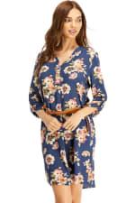 Floral Belted Long Sleeve Shirt Dress - 6