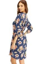 Floral Belted Long Sleeve Shirt Dress - 2