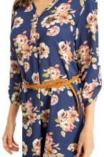 Floral Belted Long Sleeve Shirt Dress - 3
