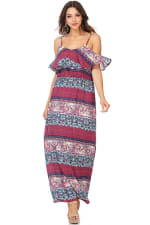 Boho Printed Cold Shoulder Maxi Dress - 5