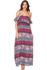Boho Printed Cold Shoulder Maxi Dress - 6