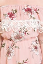 Chiffon Floral Off The Shoulder High-Low Dress - 3