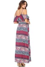 Boho Printed Cold Shoulder Maxi Dress - 2
