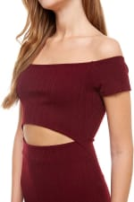 Rib Jersey Off The Shoulder Dress - Burgundy - Detail