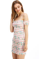 Smocked Off the Shoulder Fitted Dress - 3