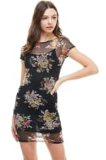 Floral Inner Lined Mock Neck Cap Sleeve Fitted Dress - 5