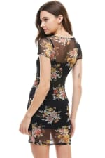 Floral Inner Lined Mock Neck Cap Sleeve Fitted Dress - 4