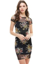 Floral Inner Lined Mock Neck Cap Sleeve Fitted Dress - 3