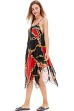 Scarf Printed Hanky Hem Midi Dress - 5