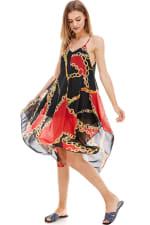 Scarf Printed Hanky Hem Midi Dress - 7