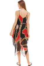Scarf Printed Hanky Hem Midi Dress - 2