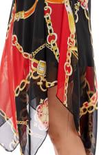 Scarf Printed Hanky Hem Midi Dress - 3