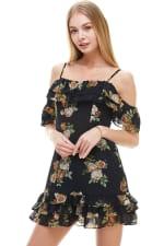 Floral Print Off Shoulder Ruffle Detail Dress - 5