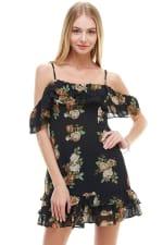 Floral Print Off Shoulder Ruffle Detail Dress - 4
