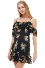 Floral Print Off Shoulder Ruffle Detail Dress - 8