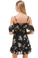 Floral Print Off Shoulder Ruffle Detail Dress - 9