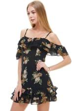 Floral Print Off Shoulder Ruffle Detail Dress - 7
