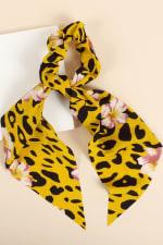 Floral & Animal Mix Print Ponytail Scrunchy - 4