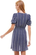 Smocked Waisted Dress With Button Detail - 2