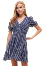 Smocked Waisted Dress With Button Detail - 9