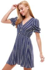 Smocked Waisted Dress With Button Detail - 8