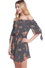 Floral Print Off Shoulder Tie Sleeve Dress - 4