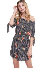 Floral Print Off Shoulder Tie Sleeve Dress - 8