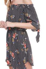 Floral Print Off Shoulder Tie Sleeve Dress - 3