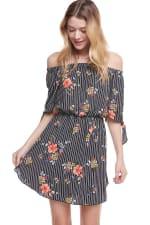 Floral Print Off Shoulder Tie Sleeve Dress - 7