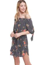 Floral Print Off Shoulder Tie Sleeve Dress - 5