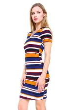Multi Stripe V-Neck Short Sleeve Dress - 3