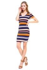 Multi Stripe V-Neck Short Sleeve Dress - 5