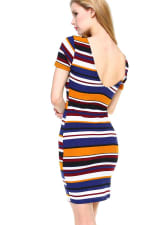 Multi Stripe V-Neck Short Sleeve Dress - 4