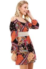 Patchwork Printed Crochet Waist Dress - 3