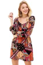 Patchwork Printed Crochet Waist Dress - 4