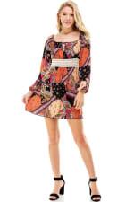 Patchwork Printed Crochet Waist Dress - 1