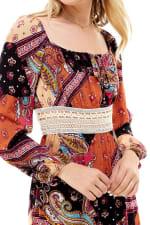 Patchwork Printed Crochet Waist Dress - 5