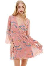 Chiffon Surplice Long Sleeve Dress - 10