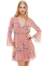Chiffon Surplice Long Sleeve Dress - 7