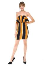Bold Stripe Flounce Tube Dress - 4