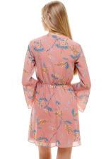 Chiffon Surplice Long Sleeve Dress - 8