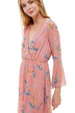 Chiffon Surplice Long Sleeve Dress - 9