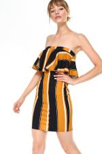 Bold Stripe Flounce Tube Dress - 3