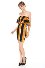 Bold Stripe Flounce Tube Dress - 5