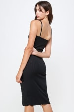 Rib Jersey Slit Front Fitted Tank Dress - 9
