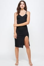 Rib Jersey Slit Front Fitted Tank Dress - 1